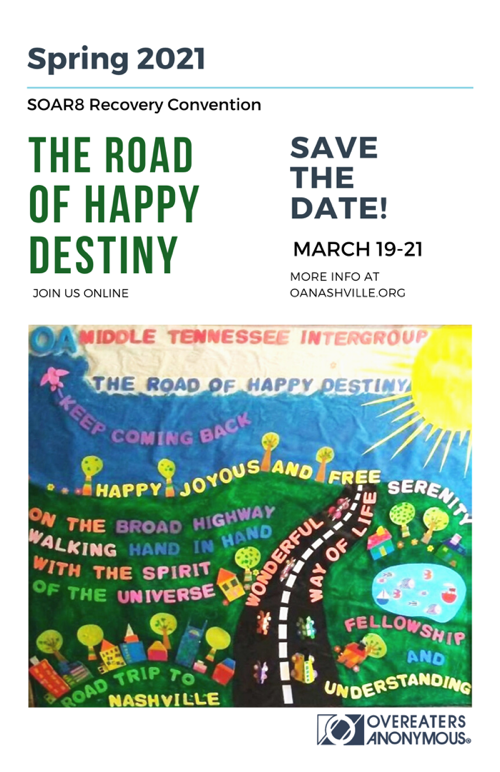 a colorful save the date flyer for an online spring 2021 OA recovery convention hosted by MTI